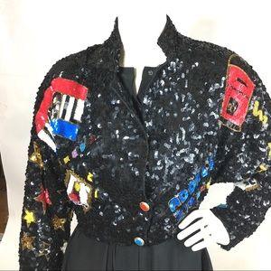 90s Vintage MODI Black Sequin Jacket USA